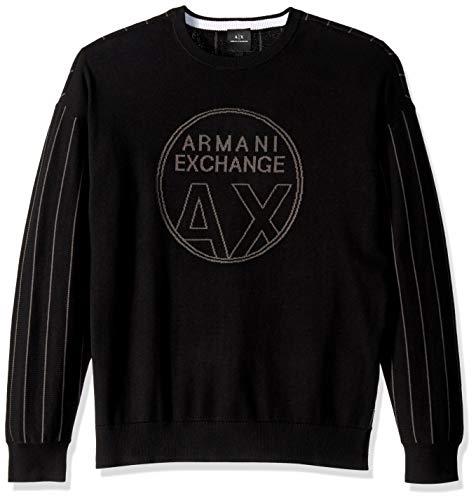 (A|X Armani Exchange Men's Pinstripe Pullover Sweater, Black+Magnet, S)