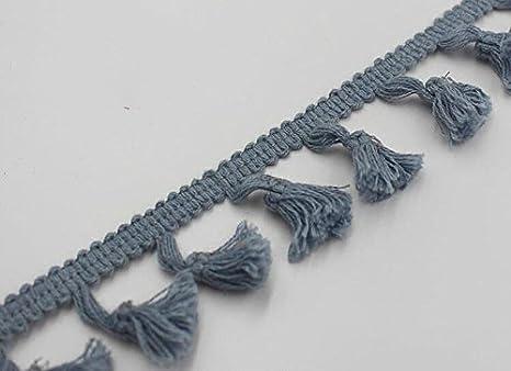 Yalulu 5 Yards Quaste Trim Bommelborte Quasten Fransen Spitzenborte Farbig N/äharbeit DIY Handwerk Blau