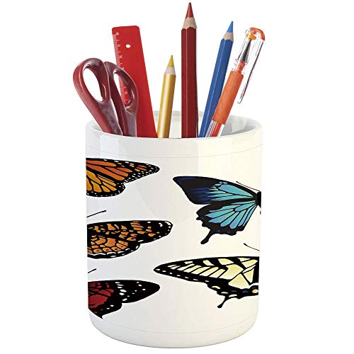 Cnc Metal Tail Holder - Pencil Pen Holder,Swallowtail Butterfly,Printed Ceramic Pencil Pen Holder for Desk Office Accessory,Five Different Butterflies Colorful Monarch Lady Insect Wings Spring Decorative
