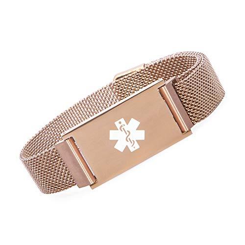 BBX JEWELRY Rose Gold Magnetic Medical Alert ID Bracelet for Women Girls Adjustable 6-9
