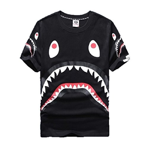 Big Mouth Shark Ape Bape Camo Casual T Shirt Tees Unisex with Round Neck Short Sleeve t-2black XXL (Shark Xxl)