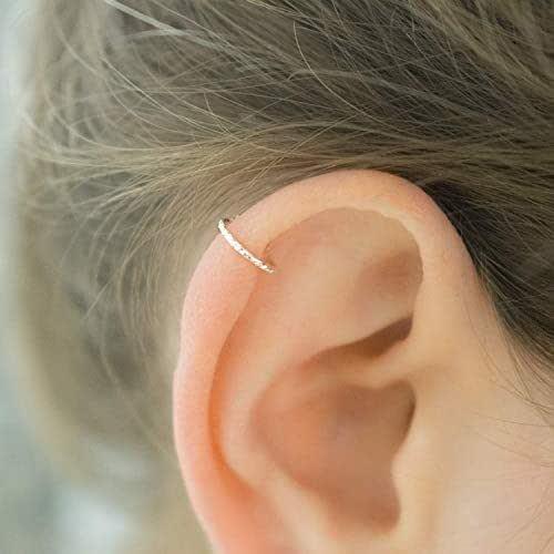 Helix Earring Cartilage Piercing Diamond Cut Hoop Sterling Silver