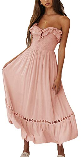 BOCOTUBE Women's Summer Sleeveless Strapless Ruffle Off The Shoulder Fit and Flare Swing Dress Pink