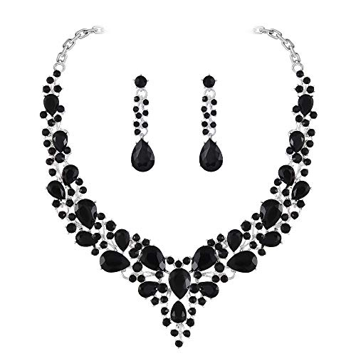Paxuan Womens Black Crystal Statement Necklace Earrings Jewelry Sets for Bridal Wedding Dress