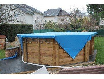 Bache piscine 700 g/m² avec filet d'écouleHommes t - Bache 8 bicolore - 5 x 8 Bache m - couverture piscine - baches piscine 3190b0