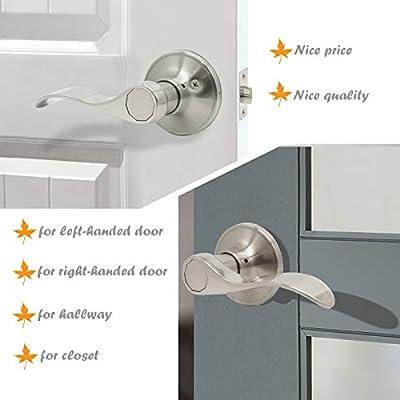 Gobrico Passage Set Door Handles Satin Nickle Lever LeverSet Knob for Interior Door