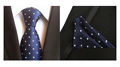 2 Piece Polka Dots Tie (MENDENG Men's Gold Blue White Polka Dots Silk Tie Necktie Handkerchief 2 Pcs Set)