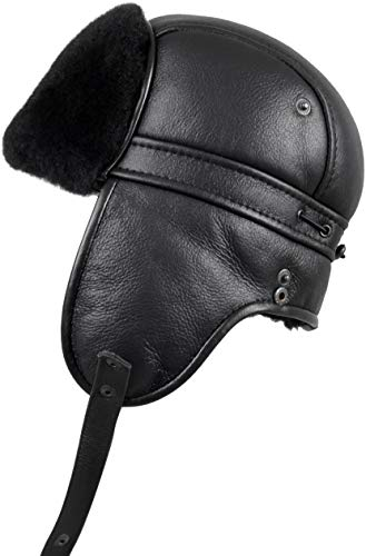 Zavelio Unisex Shearling Sheepskin Aviator Russian Ushanka with Snap Hat Medium Solid Black