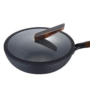 sartenes wok acero al carbono Sartenes de chef sin grasa,wok con tapa, sin