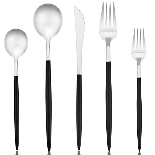 Flatware Black Matte, Luxury 20 Pieces 18/10 Stainless Steel Steak Knife and Spoon Fork Silverware Set, Service for 4 (4 sets, Matte Black and Silver Flatware set) by AOOSY