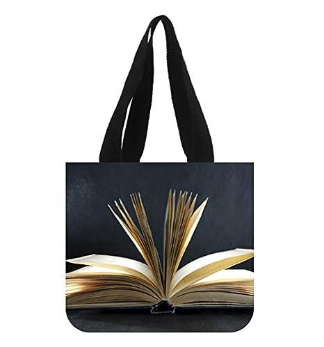Amazon.com: Libro Abierto Negro Papel pintado Bolso lona ...