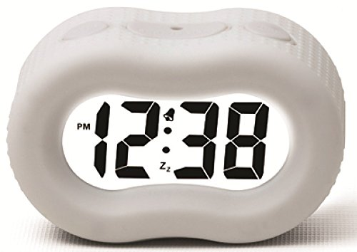 Timelink 88192A Large Display Rubber Digital LCD Alarm Clock w/ Smart Light Technology / White