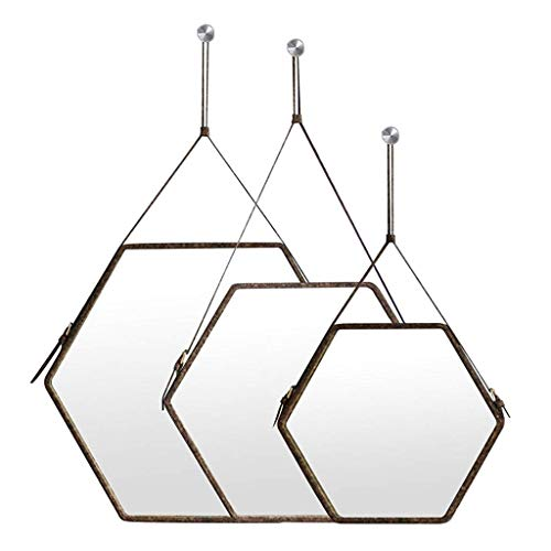 XHCP Decorative Wall Hanging Mirror Hexagonal Faux Leather Border - 3 Pieces Set Mirrors - Brown Frame