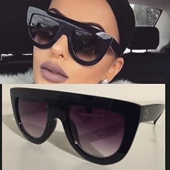 5067f50ad0 Celine Andrea Sunglasses Shadow Flat Top Celebrity Fashion In Black  Bloggers Fav (Not celine) (Black)  Amazon.co.uk  Clothing