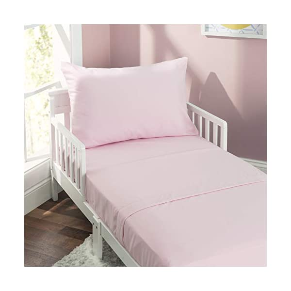 EVERYDAY KIDS 4 Piece Toddler Bedding Set - Includes Comforter, Flat Sheet, Fitted Sheet and Reversible Pillowcase - Solid Pink 3