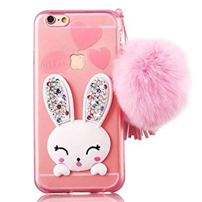- iPhone 6 Soft Case, GreenDiemnsion Slim Soft Transparent TPU Crystal Clear Cute Cartoon Rabbit [Bling Diamond Stand Silicon Ear] Case with Hairball Pompon Wrist Strap Wristlet For iPhone 6S 6 Pink
