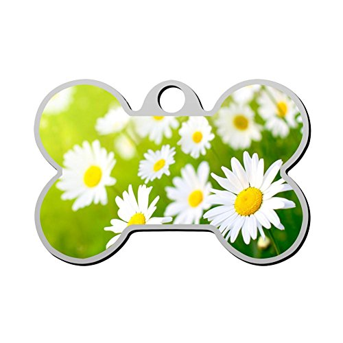 YIGEREEN Personalized Collar Tag Pet ID Tags for Cat and Dog - Bone Shape Premium Daisy Floral Fashion