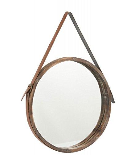 J Line Runder Spiegel Aus Holz Zum Aufhängen Lederband