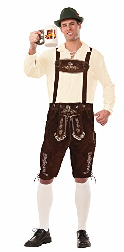 Forum Men's Deluxe Leather Lederhosen, Brown, Large by Forum Novelties