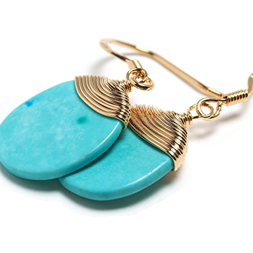 Scutum Craft 925 Sterling Silver Hook 14K Gold Plated Natural Round Cut Turquoise Stone Wire Wrap Earrings, Perfect Gifts for Best Friend