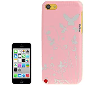 Generic Butterfly Pattern Smooth Surface Plastic Hard Case Cover for Apple iPhone 5C Pink
