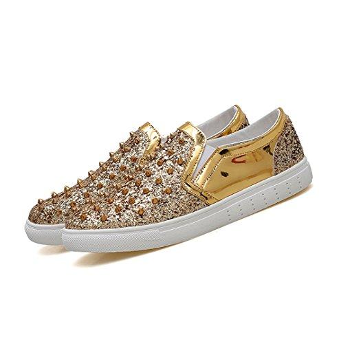 in Lok WSK Leopard Scarpe Fu Scarpe con di Nightclub specchio piedi Set da Scarpe pelle da Moda uomo Gold Casual Flats uomo a barbiere Men's qrtfxrZ