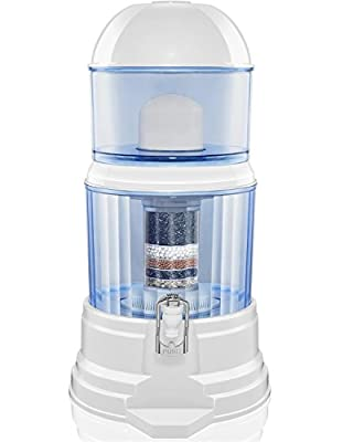 LeDoux Water Filter Dispenser -64 Cup Large 4 Gallon Countertop Pitcher Filter System Transform Tap Water to Premium Crystal Clear Alkaline Mineral Drinking Water -Exclusive 8 Step Purification System