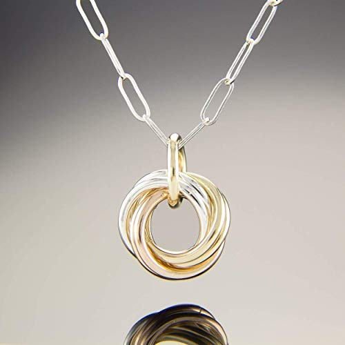 Tri Color (Sterling Silver, Rose and Yellow 14K Gold Fill) Dainty Love Knot 18 Inch Pendant Necklace