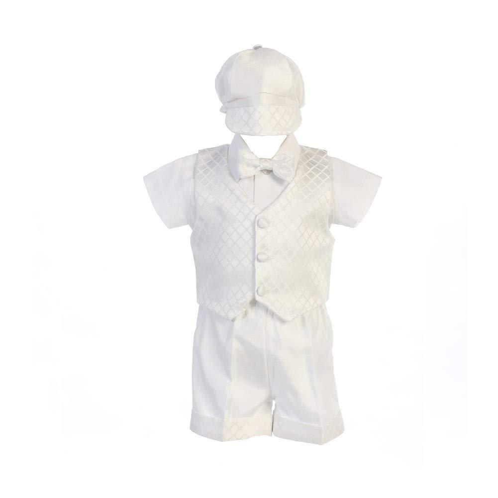 Swea Pea Lilli Little Boys White Diamond Jacquard Shorts Hat Baptism Outfit 4T