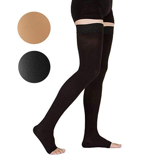 TOFLY Thigh High Compression Stockings, Opaque, Firm Support 20-30 mmHg Gradient Compression with Silicone Band, Open-Toe Compression Stockings, Treatment Swelling, Varicose Veins, Edema, Black M