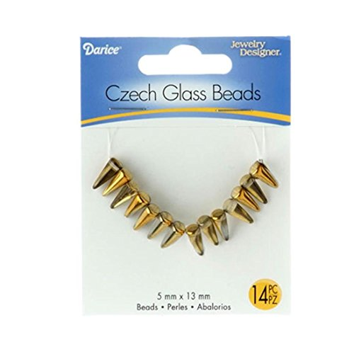 Darice 1999-6240 Czech Glass Beads-Spikes-Crystal Amber Amber Spike