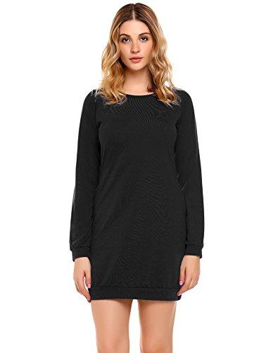Zeagoo Women Casual Long Sleeve Pockets Pullover Sweatshirt Tunic Dress Black XX-Large