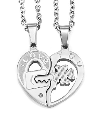 AgentX AAP131 Mens Womens Stainless Steel Silver Double Heart for Lovers Matching Pendant - My Glasses Cross Heart