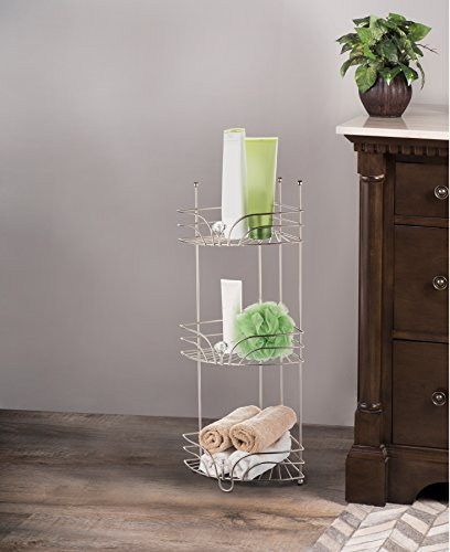 AMG and Enchante Accessories Free Standing Bathroom Spa Tower Floor Caddy, FC231-A SNI, Satin Nickel by AMG (Image #1)