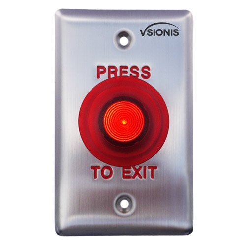 Vsionis VIS-7015 Red Round LED Press to Exit button for Door Access Control UL Listed, NC and NO Outputs (Exit Press)