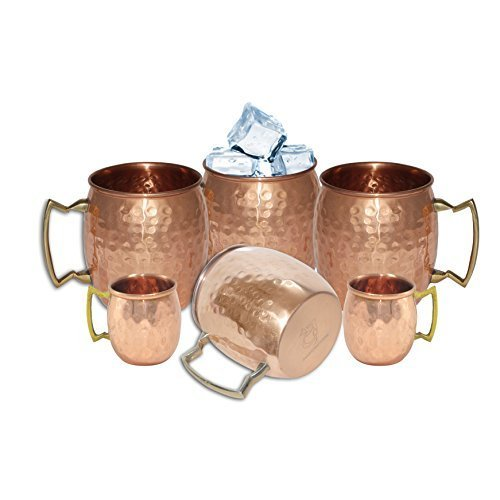 DakshCraft ?Handmade Pure Copper Hammered Moscow Mule Mug Set of 4 with 2 Copper Shot Mugs by DakshCraft