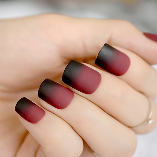 Amazon.com : CoolNail Gradient French Matte Fake Nails Claret-red Wine Black Frosted False Nail Tips Square Top Nails Art For Bride Party Wear : Beauty
