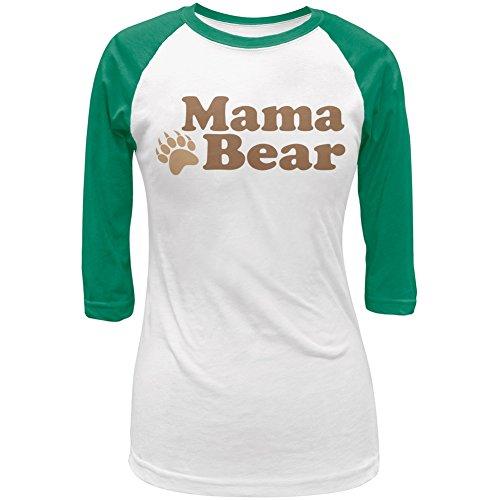 Mothers Day - Mama Bear White/Kelly Green Juniors 3/4 Raglan T-Shirt - Medium
