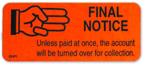 """""""Final Notice"""" AP Stickers - Fluorescent Red Accounts Receivable Collection Labels 