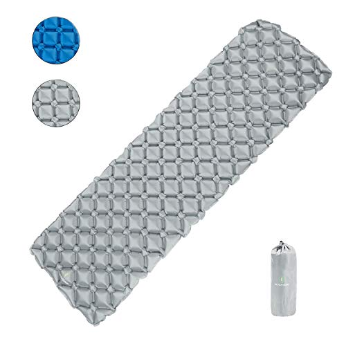 Camping Sleeping Pads, Foldable Ultralight Air Sleeping Pad for Backpacking Hiking, Durable Inflatable Waterproof Outdoor Air Mattress, Light Grey