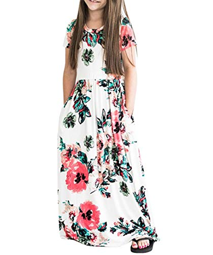 Fashspo Girls Floral Maxi Dress,Kids Casual Short Sleeve T Shirt Dresses Pockets for Toddlers, 6-7T