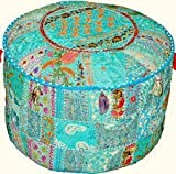 Rastogi handicrafts Patchwork Ottoman Pouf , Foot Stool,Indian Living Room Pouf, Round Ottoman Cover Pouf, Floor Pillow Ottoman Poof,Traditional Indian Home Decor Cotton Cushion Ottoman Cover