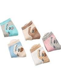 InfoSaga Kids Socks (5 pairs per pack) Cozy Cotton non Skid Ankle Socks with Elephant Pattern