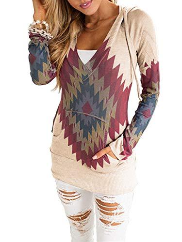 Print V-neck Cardigan - TECREW Women's V Neck Floral Drawstring Hoodie Long Sleeve Lightweight Pullover Sweatshirts with Pocket