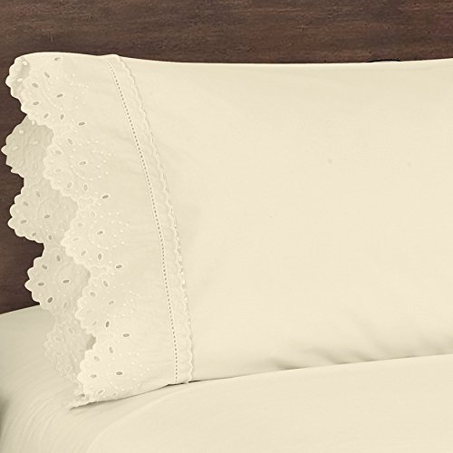 Five Queens Court Eyelet 2-Piece Pillow Case Set, Ribbon Trim, Embroidered, 100% Cotton, King, Ivory