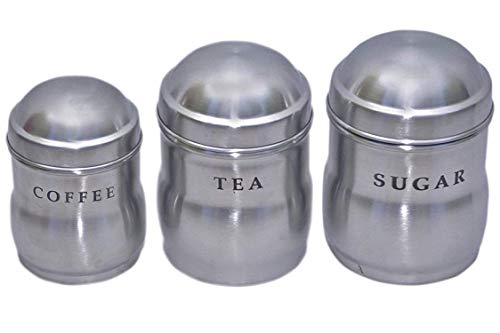 Kuber Industries Stainless Steel 3 Pieces Sugar Tea Coffee Container Set 700, 500   250 ML  Silver