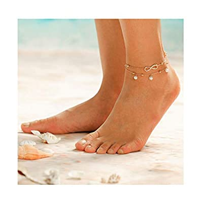 Brishow Boho Anklets Pearl Tassels Ankle Bracelets Barefoot Cross Foot Jewelry for Women and Girls