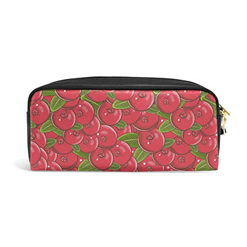 Pencil Case Big Capacity Pencil Bag Makeup Pen Pouch Vintage Retro Red Cranberry Durable Students Stationery Pen Holder for School/Office