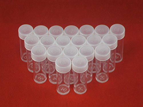 (20) Edgar Marcus Brand Round Clear Plastic (Dime) Size Coin Storage Tube Holders with Screw on Lid