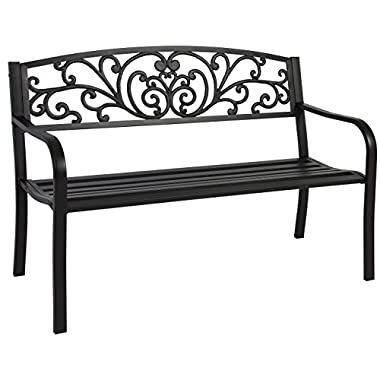 Best Choice Products 50  Patio Garden Bench Park Yard Outdoor Furniture Steel Frame Porch Chair Seat